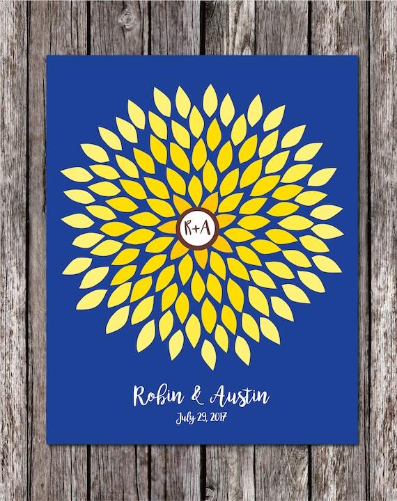 Sunflower Wedding Guestbook Flower Guest Book Dahlia Unique Etsy