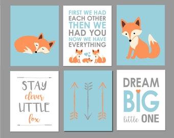 Fox Nursery Wall Art, Fox Nursery Decor, Woodland Nursery Art, Light Blue and Orange, Baby Boy Nursery, Arrows, Nursery Art, Set of 6