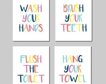 Kids Bathroom Decor Bathroom Art Prints Kids Bathroom Rules Multicolor Boy Girl Bathroom Art Bathroom Signs Bathroom Decor Prints