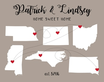 Housewarming Gift, First Home Gift for Housewarming Art Print, Hometowns, 3 Maps, Long Distance, Moving Away Gift, New House Gift