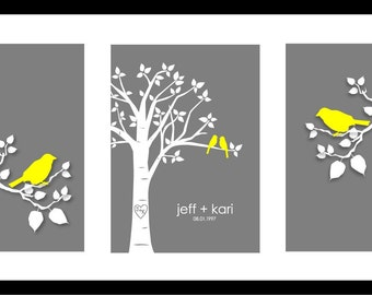 Personalized Wedding Gift, Bedroom Wall Art, First Anniversary Gift, Love Birds Wedding, Family Tree Gift, Gifts for Couples, Gift for Bride
