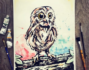 8x10 Baby Owl Print of Elias Reynolds Original Painting