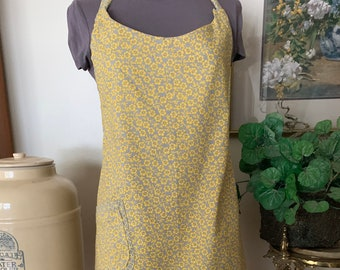 Yellow and gray reversible apron, hostess apron, full length adjustable apron, Bridal shower gift, Mother's Day gift,  Springtime apron
