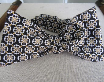 Black and gold bow tie Self Tie Bow Tie, Man teacher's gift, Father's Day Gift,  Adjustable Bow Tie,  Formal Bow Tie, UCF bow tie