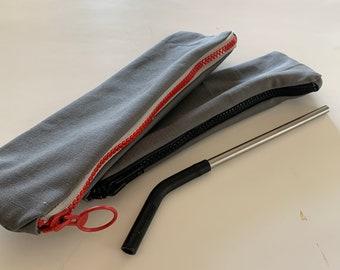 Straw zipper pouch, Ripstop zipper pencil pouch