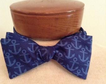 Navy Anchor self tie adjustable Bow Tie, Father's Day tie, cruise novelty bow tie, groomsmen tie, Beach nautical wedding, Man teacher gift