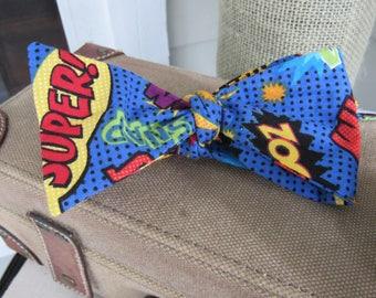 Super hero self tie bow tie, Man teacher's Novelty gift, Father's Day gift, Adjustable neck bow tie, Super hero tie, Comic Bow Tie