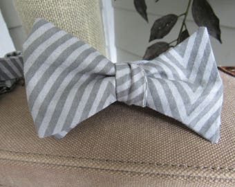Silver and Gray Striped Bow Self tie adjustable bow tie, Man teacher gift, Father's Day gift, silver and grey bow tie
