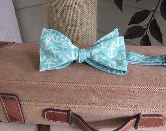 Aqua anchor bow tie, Spring summer self tie adjustable bow tie, Man teacher's gift, Father's Day gift,  Cruise bow tie, Beach Wedding tie