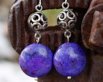 Purple Jasper Stone Drop Earrings - Silver Round Beads, Violet, Vivid Color