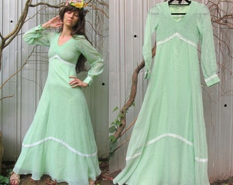 b3398eef8a 1970s Maxi Dress VINTAGE Mint Green Dotted Swiss Long Sleeve Peasant Dress  size 2 4