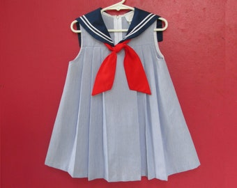 a966af68c Vintage SAILOR Dress 4T by Little Bitty 1980s Little Girls Clothing 4th of  July Red White   Blue Sailor Moon