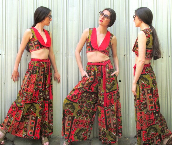 1970s Palazzo Pants & Matching Cropped Top Vest V… - image 1