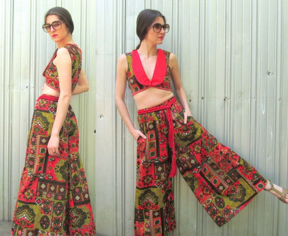 1970s Palazzo Pants & Matching Cropped Top Vest V… - image 4