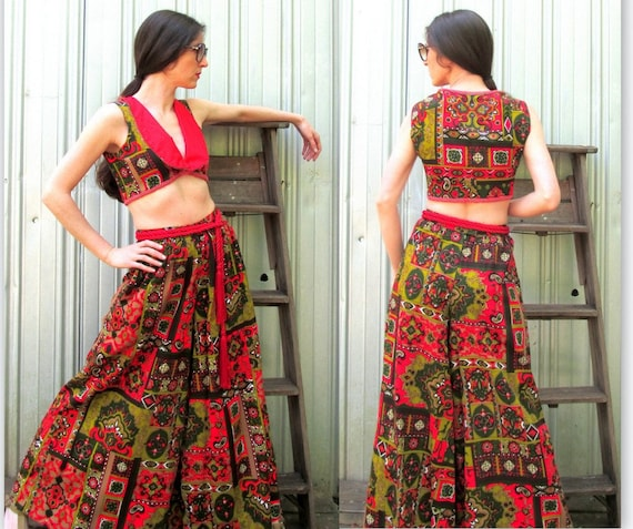 1970s Palazzo Pants & Matching Cropped Top Vest V… - image 2