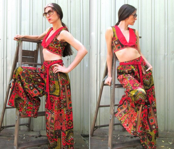 1970s Palazzo Pants & Matching Cropped Top Vest V… - image 3