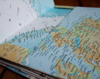 "25 Upcycled Map Envelopes- Size A6 - World Atlas Envelopes (6 1/2"" x 4 7/8"") Upcycled Map Envelopes"