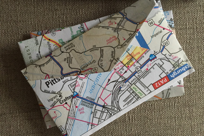 Image of: 50 Mini Road Map Envelopesus Road Atlas Mini Etsy