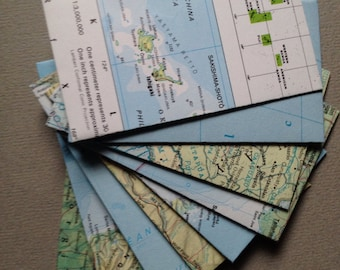 """25 Upcycled Mini Map Envelopes - World Atlas Map Envelopes - Size 2 1/8"""" x 3 1/2"""" - Open End/Coin Style-Upcycled Map Envelopes"""