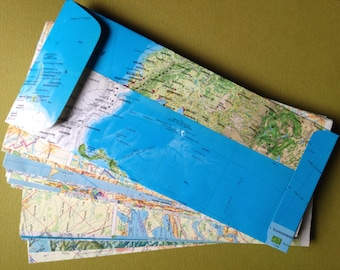"25 Upcycled Map Envelopes-World Atlas Envelopes--Open End/Square Flap Envelopes-Size 9 1/2"" x 4 1/8""--Upcyled Map Envelopes"