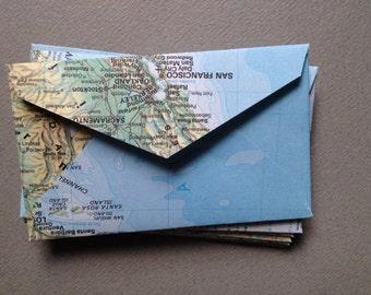 """25 Upcycled Mini Map Envelopes - World Atlas Map Envelopes- Size 2 1/4"""" x 3 1/2""""- Upcycled Map Envelopes"""