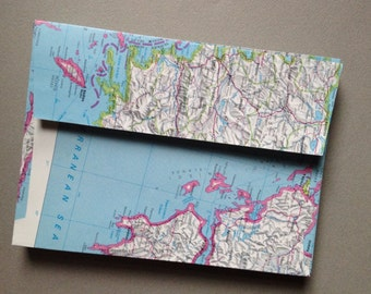 """25 Upcycled Map Envelopes - Size A7 - World Atlas Map Envelopes (5 1/4"""" x 7 1/4"""") Upcycled Map Envelopes"""
