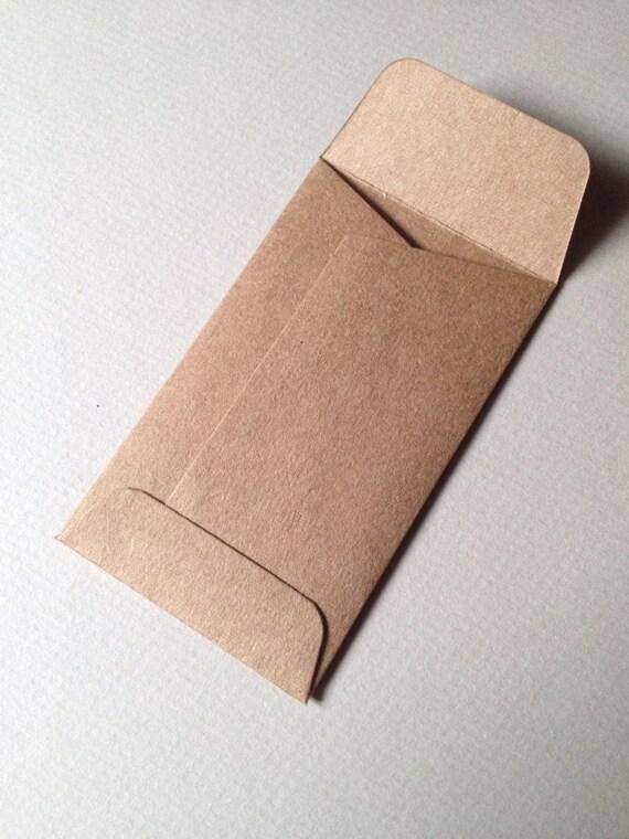 25 Mini Enveloppes En Kraft Recycl Taille 2 1 8 X 3 De Pice Monnaie Carte Visite