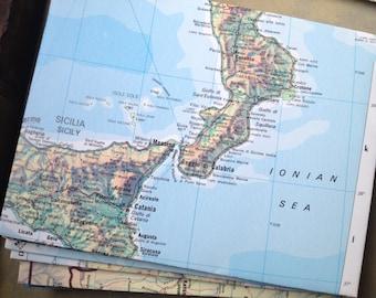 "25 Upcycled Map Envelopes - Size A2 - World Atlas Envelopes (5 3/4"" by 4 1/4"") Upcycled Map Envelopes"