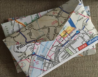 "25 Upcycled Road Map Envelopes--US Road Atlas Mini Envelopes--United States Road Atlas Envelopes--Size 2 1/4"" x 3 1/2""--"