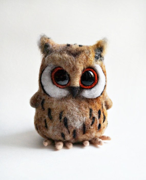 Needle felted Horned owl