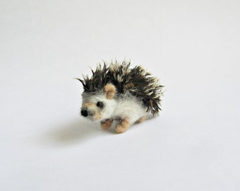 Miniature hedgehog, needle felted ooak soft sculpture miniature felted animal felt toy