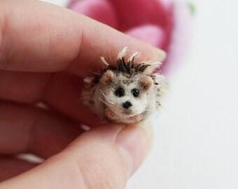 Tiny needle felted hedgehog, miniature hedgehog felted miniature ooak toy