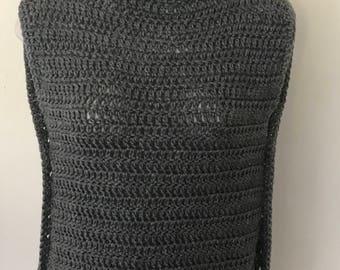 Crochet Turtleneck Sweater Vest