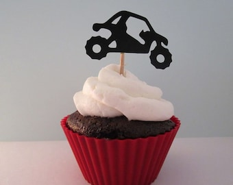 Off Road SxS Cupcake Topper UTV 4 Wheeler Quad Die Cuts Birthday Decor Mudding Party Pick Extreme Sports Sets Of 12