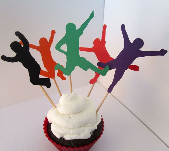 Jump Party Cupcake Toppers, Jumping Kids Die Cuts, Trampoline Birthday, Bounce House Party Decor Cake Picks