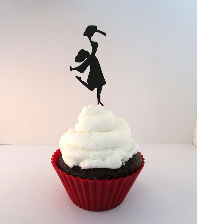 Graduation Cupcake Topper, Girl Grad Cake Pick,  Color Options