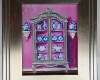 Original Painting -French Armoire with Blue and White China in Lavender Pink Room
