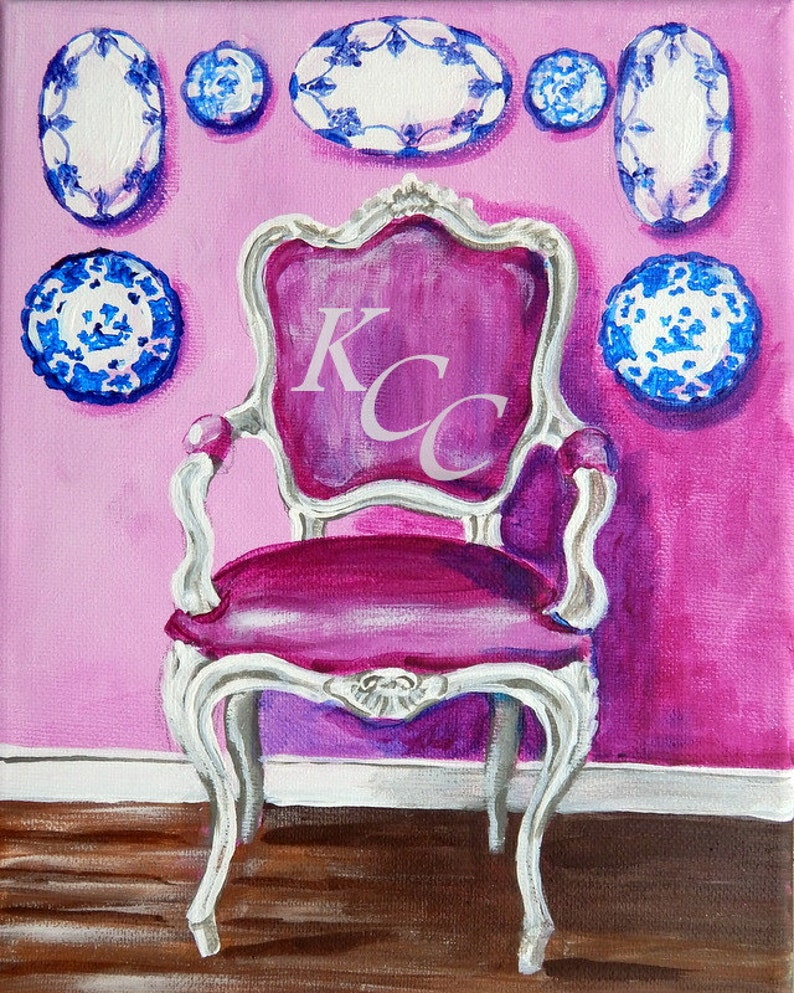 Original Painting Framed-French Chair in Lavender Pink Room image 0
