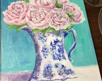 Pink Peonies in Blue and White Pitcher ~ Original painting