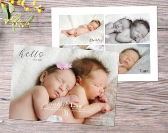 Twins Birth Announcement - Boy Girl Twins Custom 5x7 Card - Printable - Personalized Card - Baby Announcement