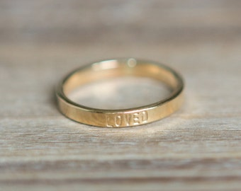 Thin Gold Stacking Ring Hand Stamped Ring - Gold Ring - Custom Name or Word Ring Thin Stacking Personalized Ring