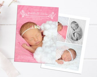 Baby Girl Birth Announcement - Custom 5x7 Card - Printable - Personalized Card - Baby Announcement