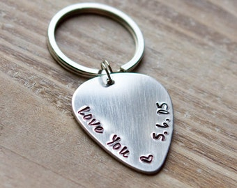 Guitar Pick Keychain - Handstamped Custom Keychain - Vintage Brass or Silver Aluminum - Gift for Him - Father's Day Gift