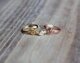 Wire Wrapped Ring - Silver, Gold, Rose Gold - Small Rosette - Tiny Delicate Ring - Gift for Her - Mother's Day Gift