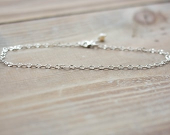 Sterling Silver Anklet - Simple Dapped Oval Chain Anklet - Freshwater Pearl - Dainty Delicate Summer Beach Anklet
