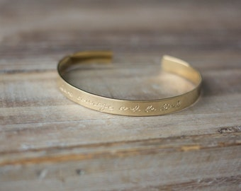 Personalized Gold Brass or Copper Cuff Bracelet - Custom Hand Stamped Cuff Bracelet - Have Courage And Be Kind - Mother's Day Gift