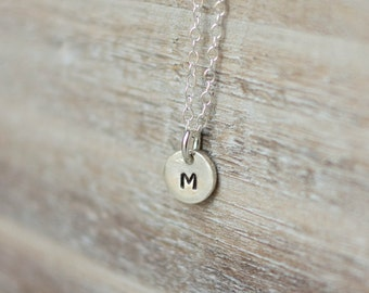 Tiny Initial Necklace - Sterling Silver Circle Initial Necklace - Handstamped Tiny Circle - Dainty Everyday Necklace- Valentine's Day Gift