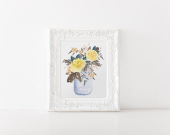 Floral Art Print - Watercolor Flowers in Jar - 8x10 - Yellow Peach Flowers - Floral Bouquet Print