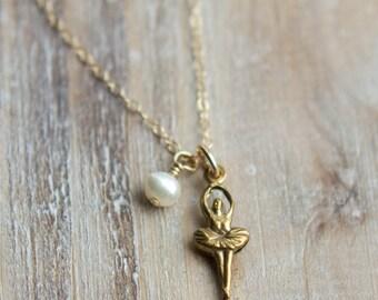 Vintage Gold Ballerina Necklace - Little Girl Necklace - Gold Filled Ballet Dancer Brass Ballerina - March Birthstone