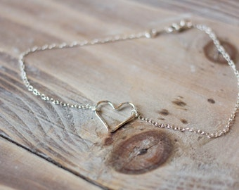 Sterling Silver Hammered Heart Anklet - Simple Anklet - Summer Beach Anklet - Bridal Jewelry - Mother's Day Gift
